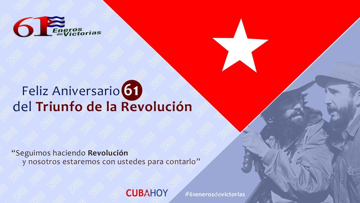 Llega el 2020 y #VamosPorMás Muchas felicidades a todos los que quieren bien a nuestra #Cuba En el Aniversario 61 del Triunfo de la Revolución les deseos éxitos personales y profesionales. Un abrazo. #61EnerosDeVictorias #SomosContinuidad