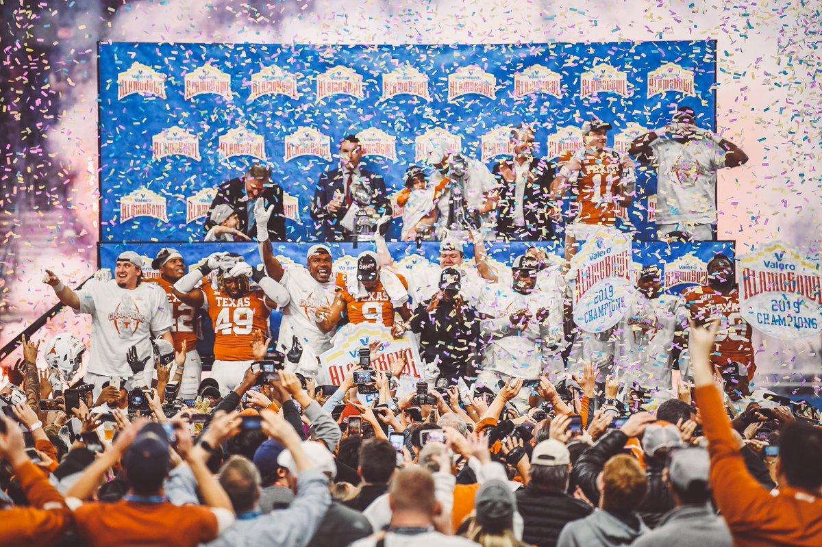 Time to CELEBRATE! 2019 Alamo Bowl CHAMPS. #HookEm🤘