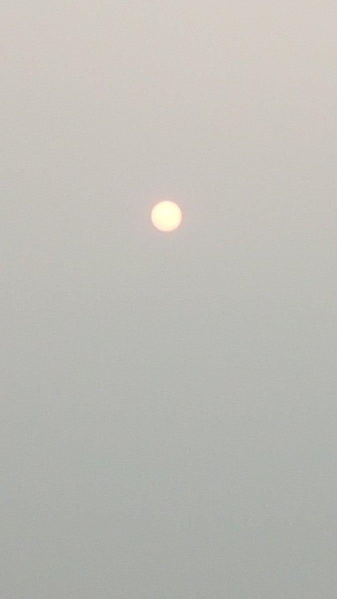 Orange sun above Golden Bay NZ due to smoke from Australian bushfires wafting across the Tasman Sea