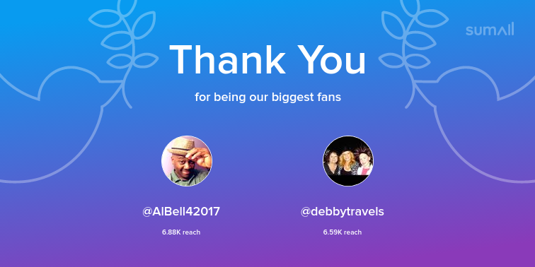 Our biggest fans this week: AlBell42017, debbytravels. Thank you! via sumall.com/thankyou?utm_s…