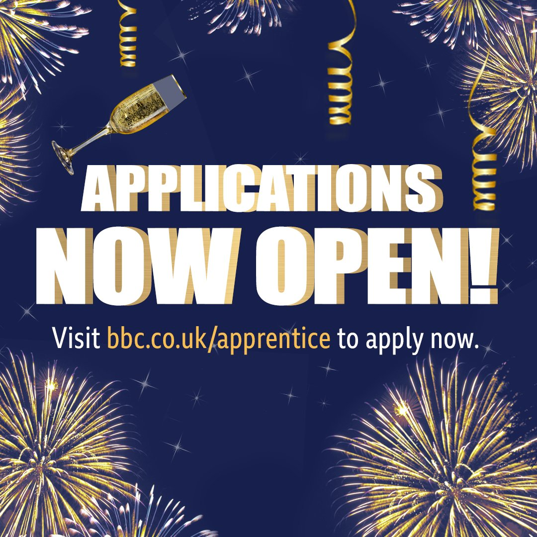 Happy new year everybody! 🍾 If you fancy a shot at being Lord Sugars new business partner and taking on #TheApprentice process in 2020, head to bbc.co.uk/apprentice to apply. Good luck!