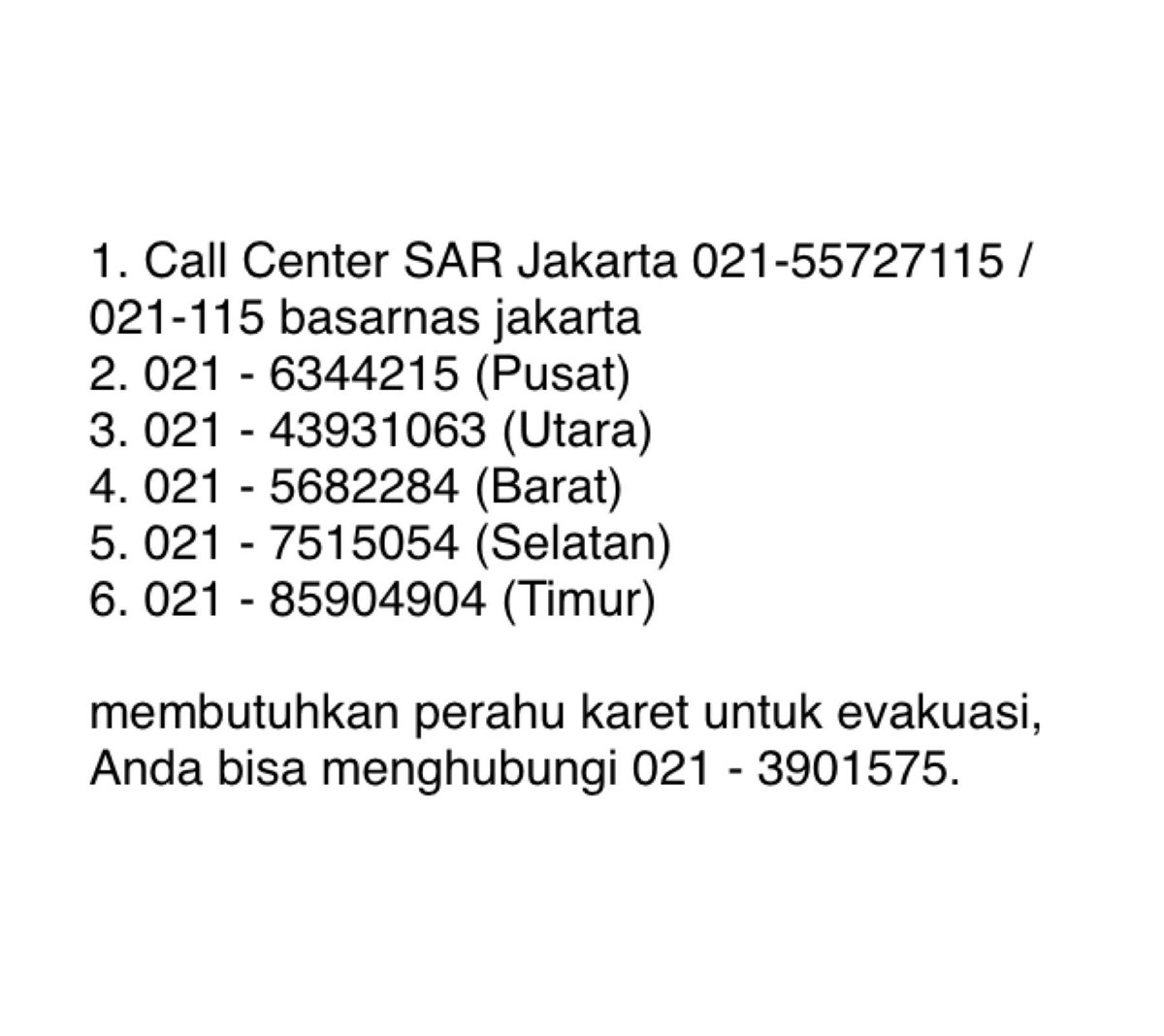 #telponpenting #emergency #BanjirJakarta #Jabodetabek  #jakarta #banjir2020 #callcenter https://t.co/mHxotOSHed