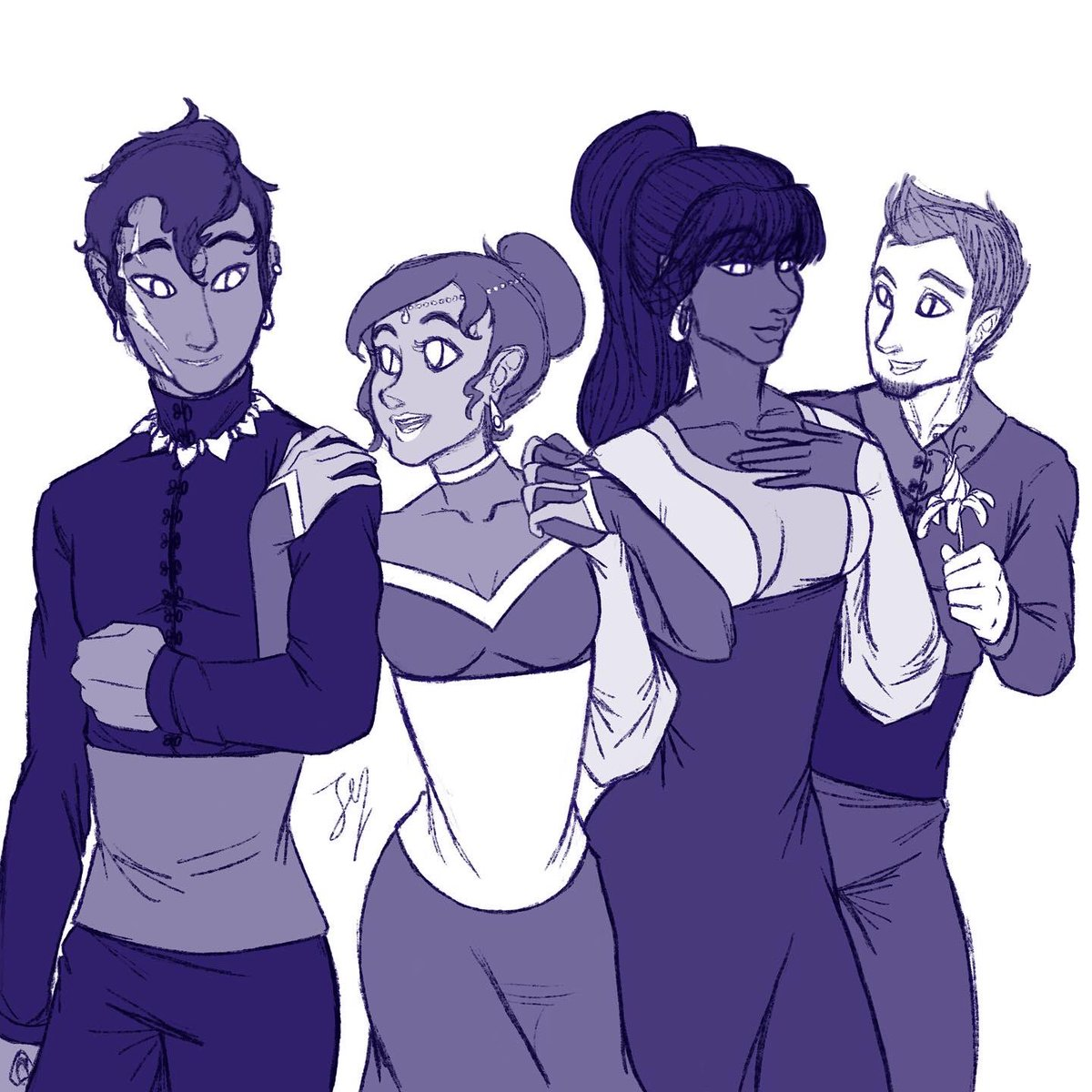 Happy new year. I meant to have this done earlier in December, but oh well. I'll finish it with lineart and proper color eventually. Left to right: Oreku, Veroni, Naomi, and Reese.  #happynewyear2020 #sketch #digitalart #myoriginalcharacters #myocs #ocwinterball #wipwednesdaypic.twitter.com/3gS1jNSbRn