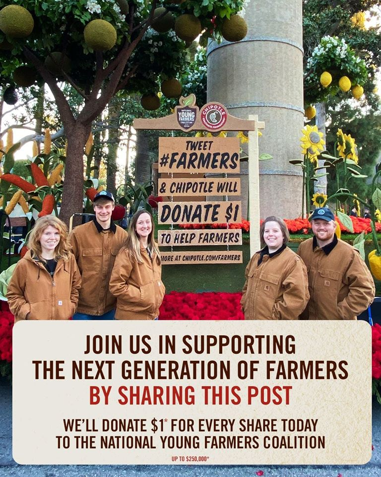 Spotted at the #roseparade2020: Niman Ranch young #farmers! Thanks to our friends at @ChipotleTweets for their longtime partnership with #NimanRanch, support of @YoungFarmers, & leadership to cultivate the future of farming.
