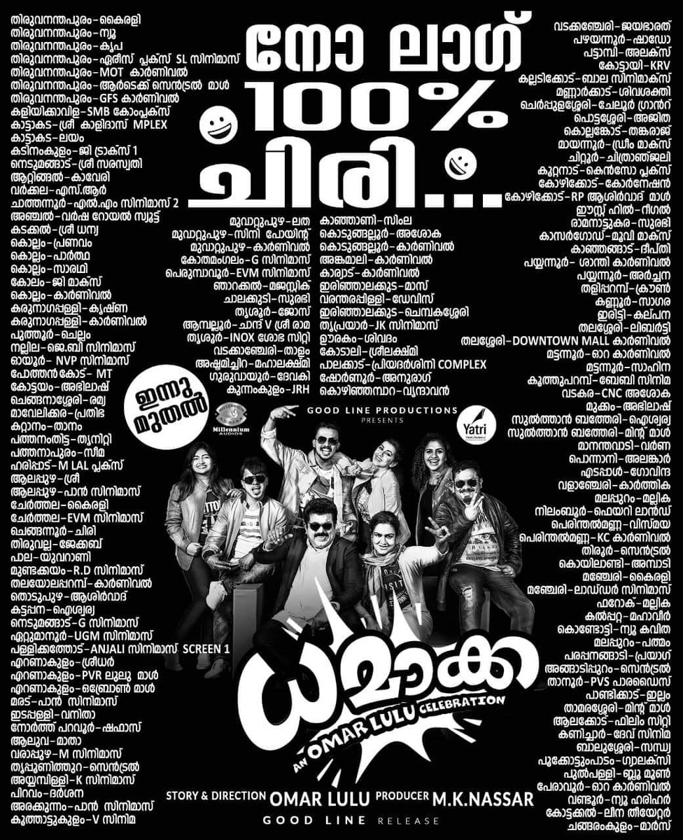 #OmarLulu's #Dhamaka movie releasing today!  Here is the theatre list!pic.twitter.com/bGeFdYEBv7
