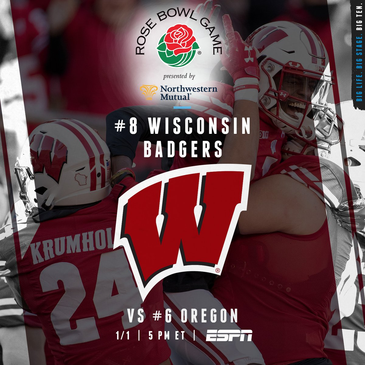 In its tenth @rosebowlgame appearance, No. 8 @BadgerFootball will take on No. 6 Oregon today in The Granddaddy of Them All at 5:10 PM ET on ESPN.  #B1GFootball x #RoseBowl https://t.co/lSFMjvLsZR