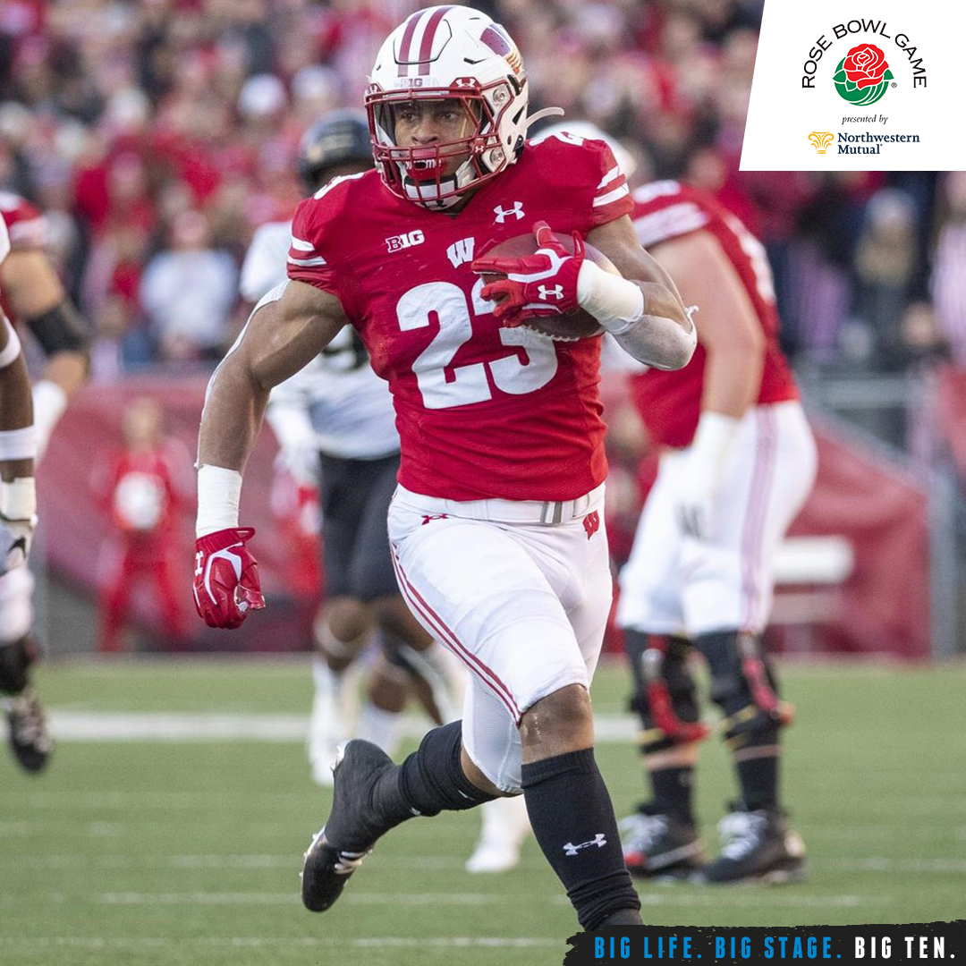 Today's game marks the second time @BagderFootball RB Jonathan Taylor has played in the @rosebowlgame. Taylor is the only back in FBS history to amass 6,000 rushing yards in just three seasons.  #B1GFootball x #RoseBowl https://t.co/PPWmXKBC3W
