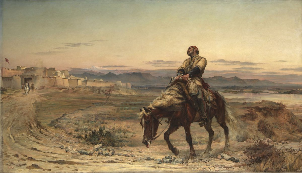 On this day in 1842, an exhausted army surgeon named William Brydon arrives in Jalalabad, Afghanistan with news that an entire British army has been wiped out at Gandamak. The moment is later immortalized in this painting by Lady Butler.