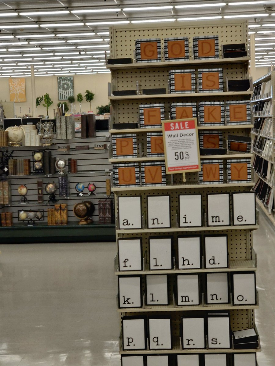 Left my mark @HobbyLobby the other day. I couldn't resist!  #GodIsFake #Atheism #Atheistpic.twitter.com/DnwxSlx094