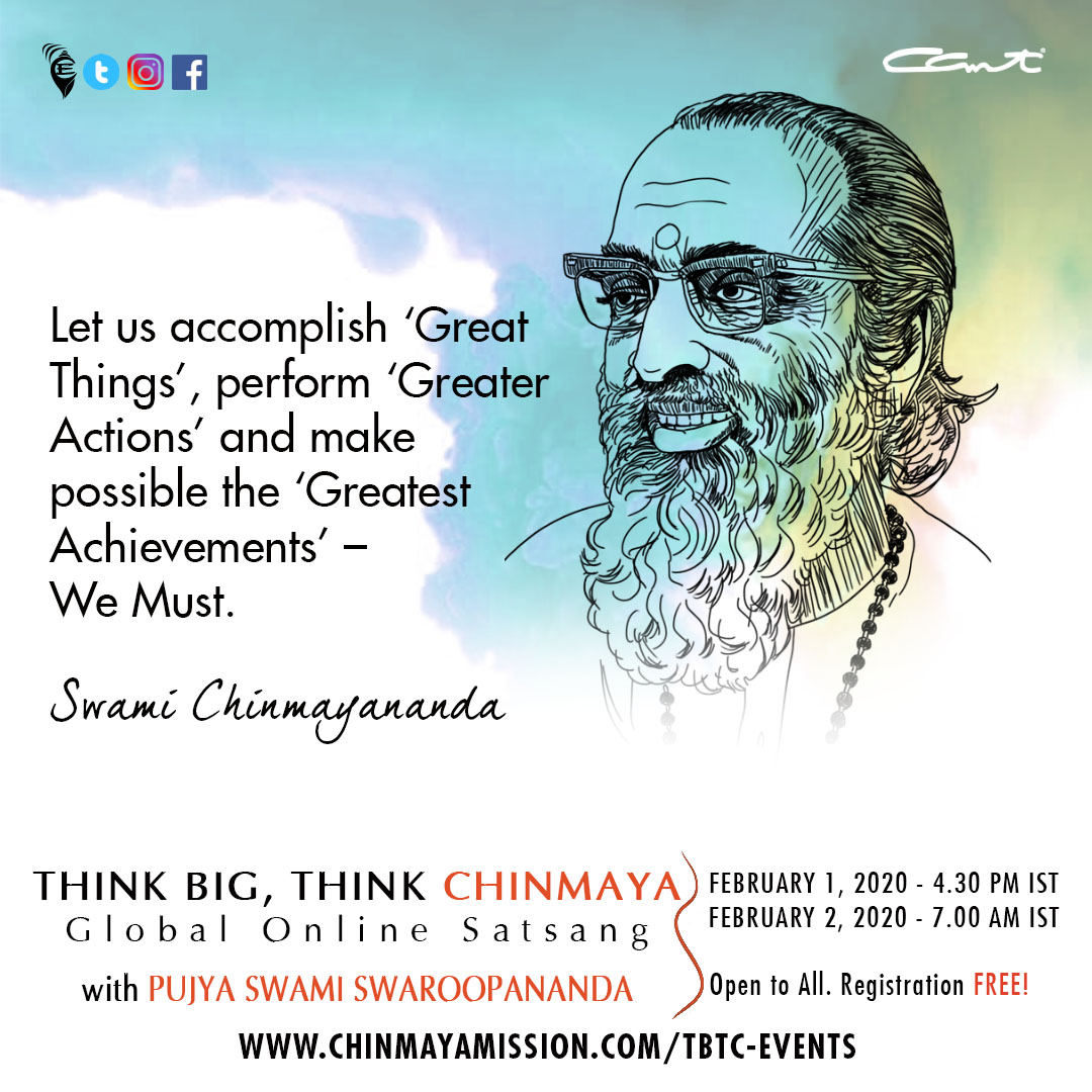 Let us accomplish 'Great Things', perform 'Greater Actions' and make possible the 'Greatest Achievements' – We Must.  #Chinmayam #ThinkBigThinkChinmaya #swamichinmayananda #quotestoinspire <br>http://pic.twitter.com/Sj20FCWdXr