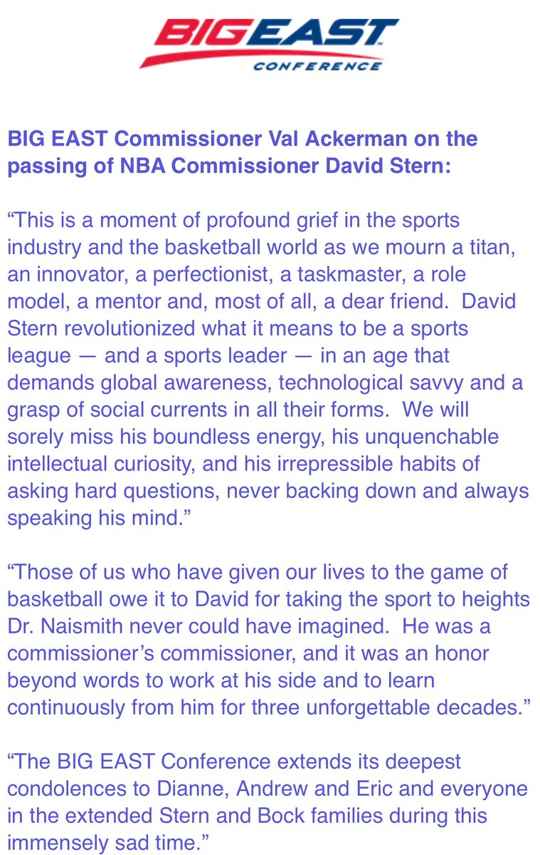 Statement from Val Ackerman on the passing of David Stern.