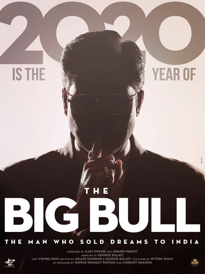 .@juniorbachchan in and as #TheBigBull: An Unreal Story.  Directed by Kookie Gulati &  produced by @ajaydevgn and @anandpandit63. Co-produced by @KumarMangat and #VikrantSharma.   2 October release.