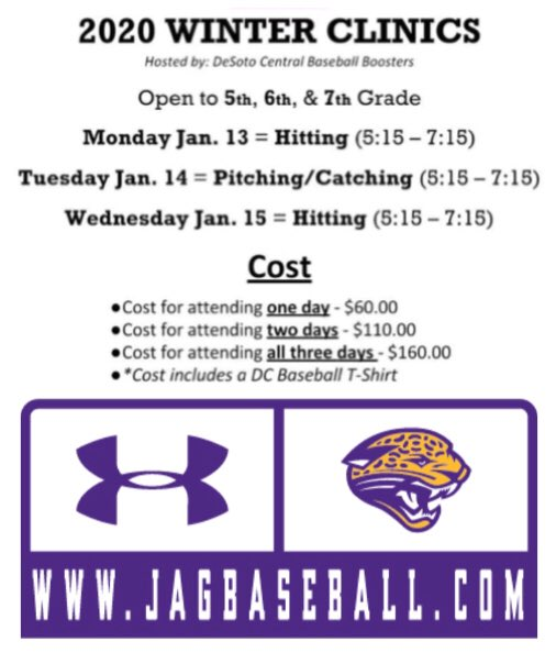 2020 BASEBALL WINTER CLINICS REGISTER ONLINE AT jagbaseball.com