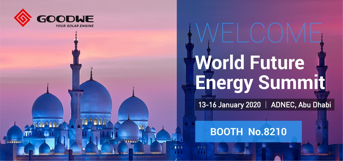 Meet #GoodWe at the World Future Energy Summit.  We are starting the year full of solar energy and our team will be present at the World Future Energy Summit taking place at the #ADNEC Exhibition Center of #Abu #Dhabi between the 13 and the 16th of January. Our booth is the 8210<br>http://pic.twitter.com/3V6Bx13yKm