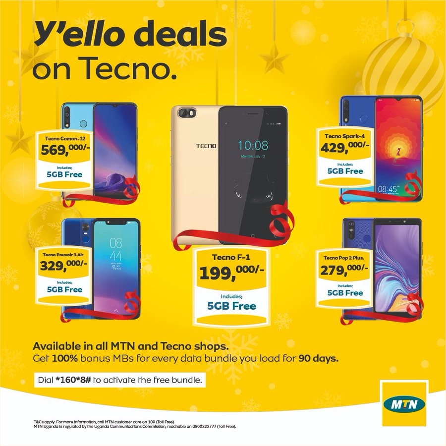 Mtn Uganda On Twitter It S A New Year New Decade And Our Amazing Yellodeals On Tecno Are Still On Bless Someone This January With A Tecno Which Comes With 5gb Free Data