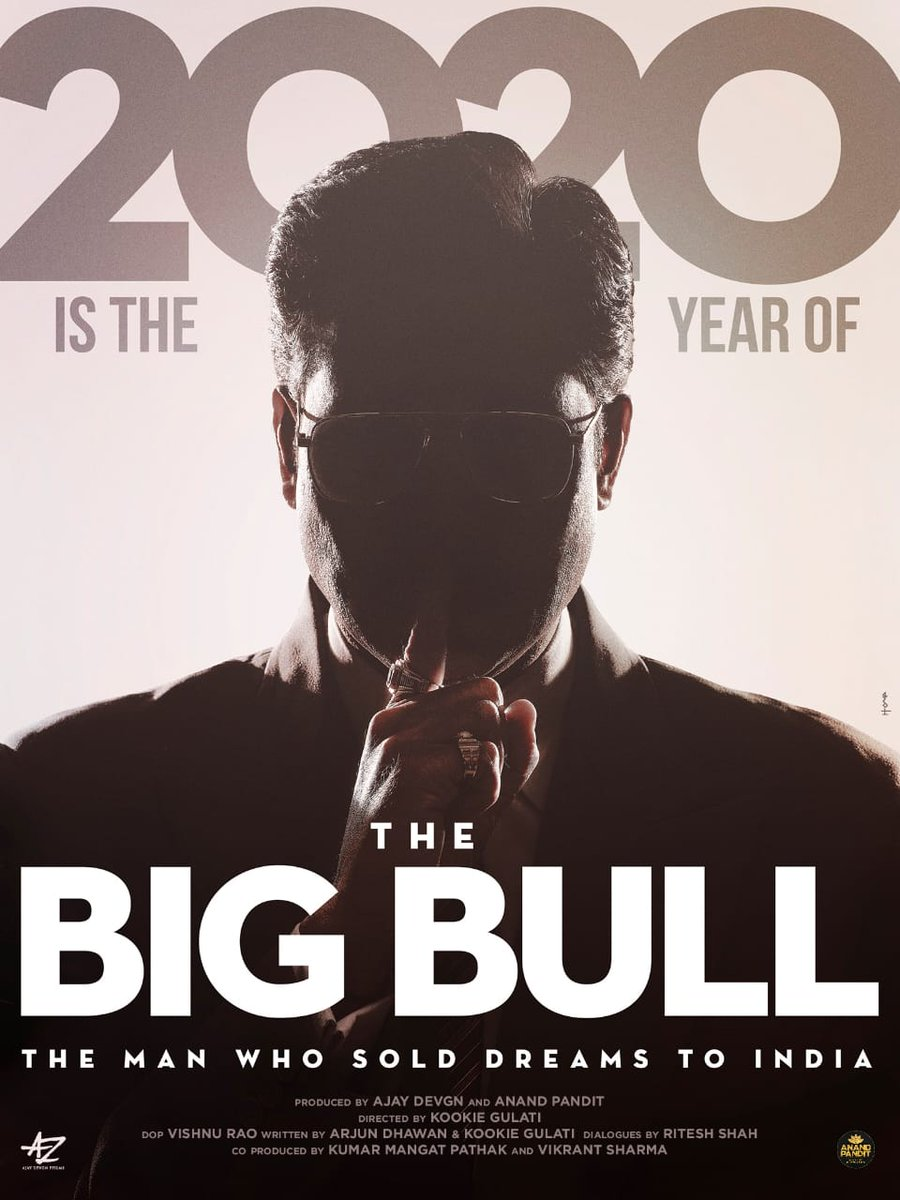 2020 is the year of #TheBigBull, the man who sold dreams to India! Here's 1st look of #AbhishekBachchan @juniorbachchan in and As 'The Big Bull'. Produced by #AjayDevgn @ajaydevgn and @anandpandit63, directed by @kookievgulati and co-produced by @KumarMangat and #VikrantSharma.