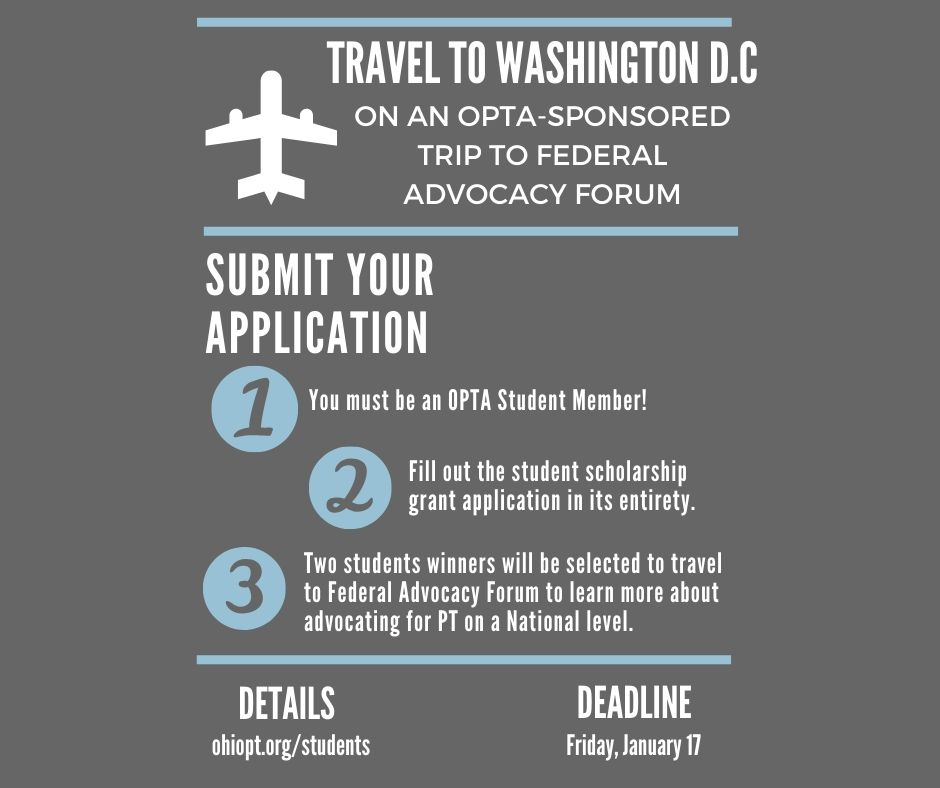 Oh Physical Therapy On Twitter Students We Have Two Scholarships For Up To 1 000 Each To Attend Apta S Federal Advocacy Forum Only One More Week Until The Scholarship Application Deadline Https T Co Fzbnbi4sct Https T Co Chhyklmylr