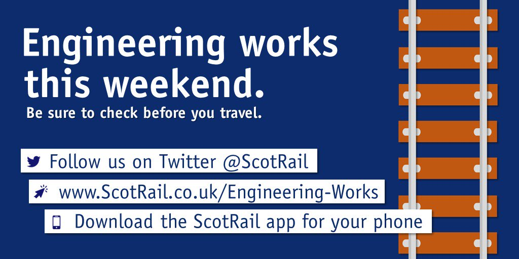 There are engineering works affecting services between Glasgow Queen Street and Crianlarich and also between Dalmuir and Helensburgh Central / Balloch on Saturday 19 and Sunday 20 September  Please allow plenty of extra time for your journey. https://t.co/N1f6Uaq5Vt