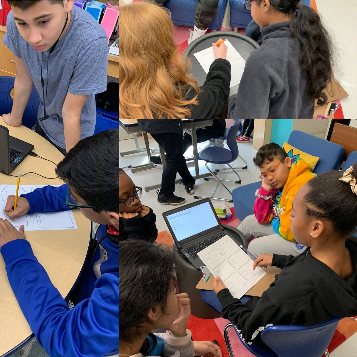 Grade 7 students collaborating on outlines for organizing their student government plans. #mypdesign #criterionb #developingideas #studentgovernmentpic.twitter.com/l2RMu5ejm1