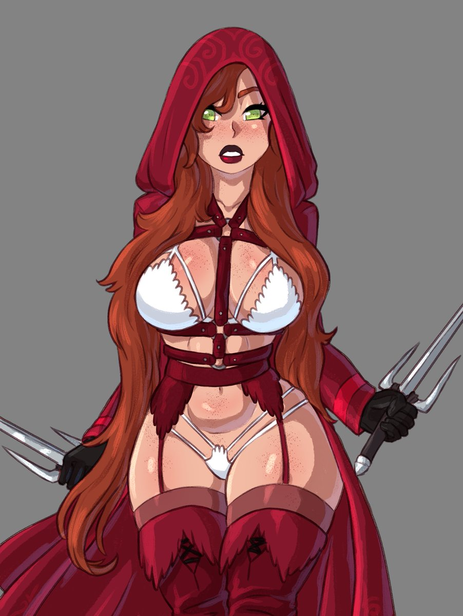 Assassin character designed by a friend of mine and drawn by me  #oc #digital #art #sexy #red #assassin #lingerie
