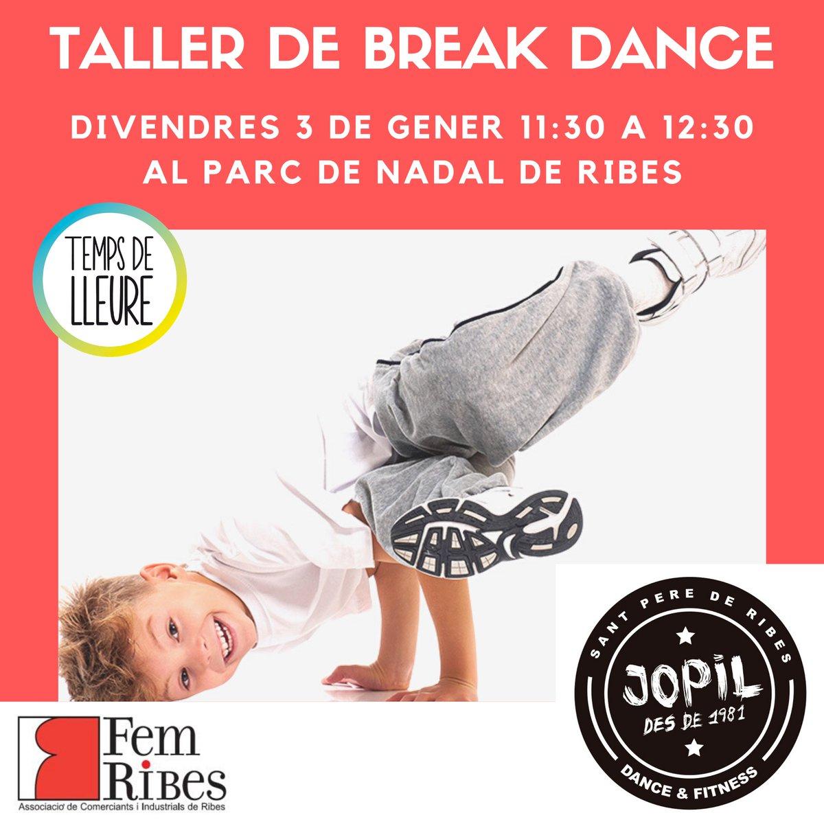 Demà d'11:30 a 12:30 al parc de nadal de Ribes tindrem un  taller de Break Dance de la mà de @jopilribes Us podeu inscriure al mareix parc, abans de començar. Que no t'ho expliquin! #parcdenadalderibes #jopilribes #tempsdelleure #femribes #ribes #spribes https://t.co/uAtACUteP6