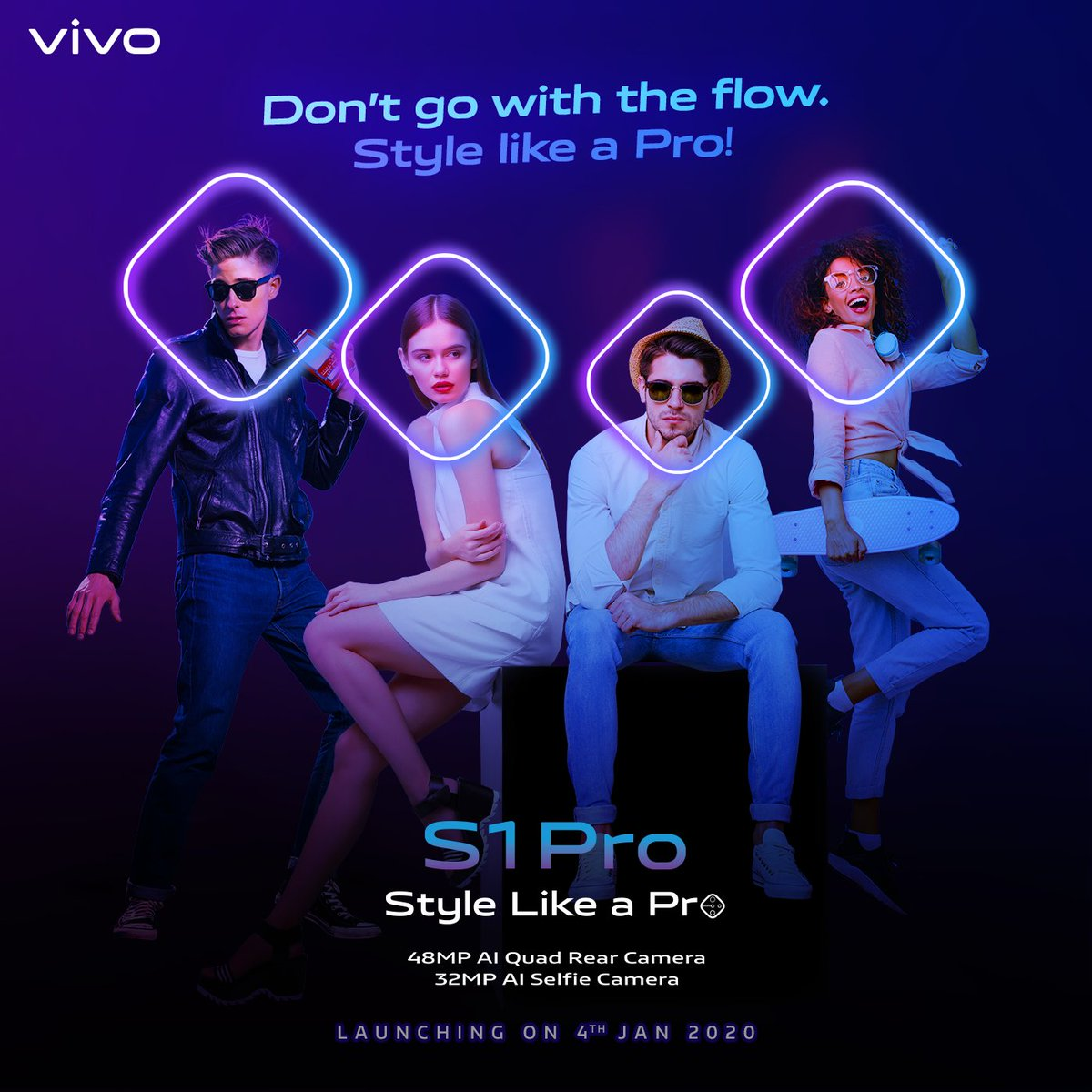 Going with the flow isn't your thing.#StyleLikeAPro with #vivoS1Pro 's diamond shaped 48MP AI Quad Rear Camera & 32MP AI Selfie Camera.Launching tomorrow. Know more - http://bit.ly/2ZAvQrp