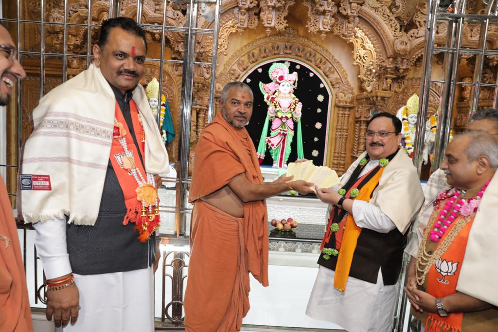 Swaminarayan saints extend support to CAA, hand over post cards to JP Nadda