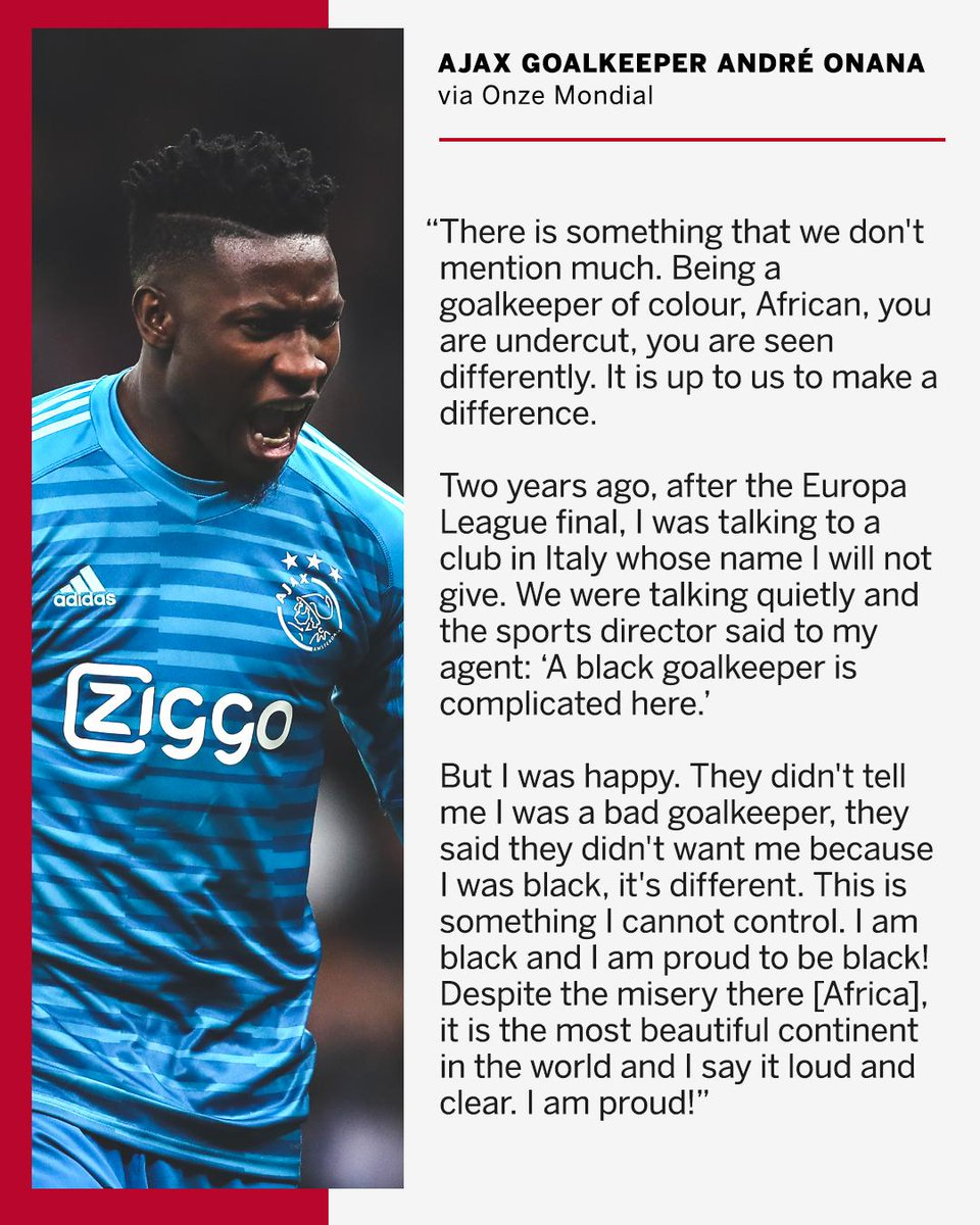 Ajax keeper André Onana claims an Italian side didn't sign him because of his skin colour.