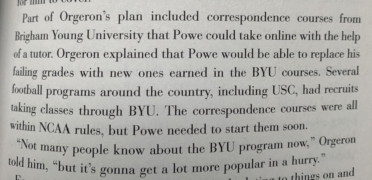"""Doing a re-read if @BruceFeldmanCFB Classic """"Meat Market."""" Came across this nugget that only coaches of the VHS era would remember: the joy of BYU correspondence courses as a path to eligibility. Coach O was working angles! #learnabook"""