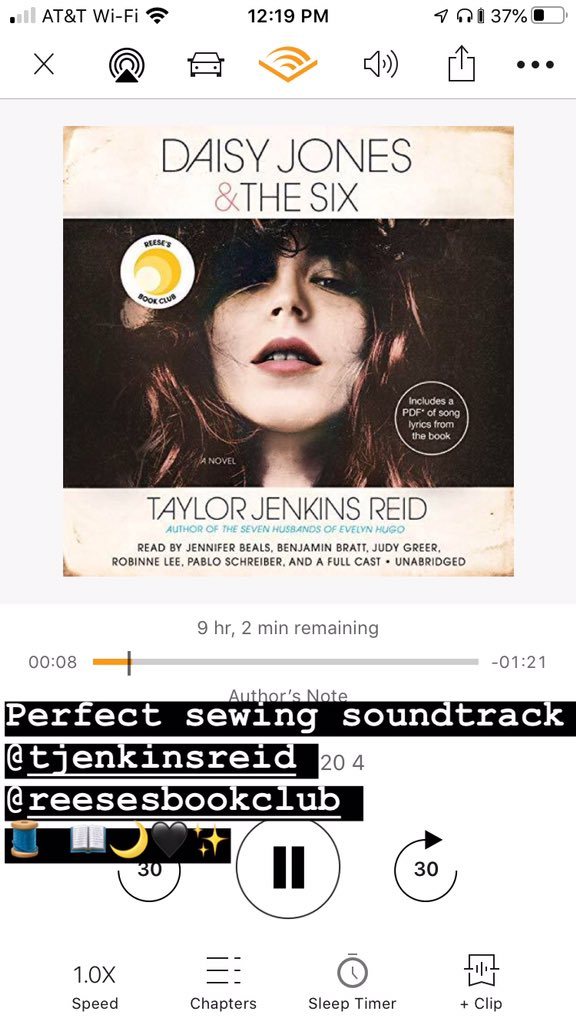 Perfect sewing soundtrack @tjenkinsreid @ReesesBookClub @audible_com #daisyjones #daisyjonesandthesix #taylorjenkinsreid pic.twitter.com/nVTJCutFY5