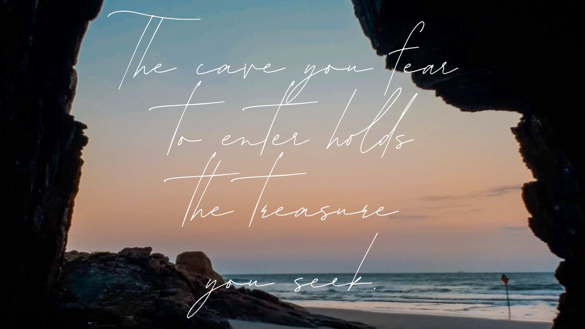 """""""The cave you fear to enter holds the treasure you seek.""""-Joseph Campbell 💎 #ThursdayMotivation #WordsOfWisdom #wordswagapp https://t.co/h25BtFYcMb"""