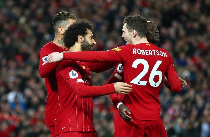 Para pemain Liverpool merayakan gol perdana Salah. TWITTER/LIVERPOOL FC @LFC