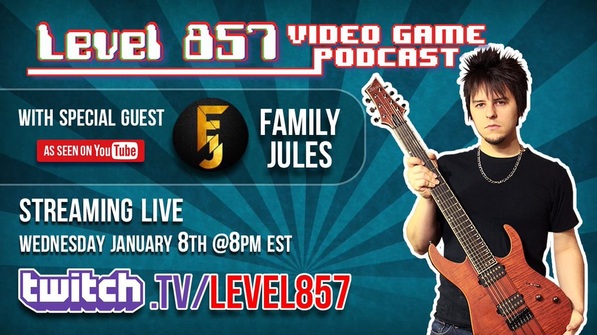Join us Wednesday 1/8/20 at 8pm EST as we interview musician and fellow YouTuber @FamilyJules7x! http://Twitch.tv/Level857  #level857 #familyjules #videogamemusic #videogamemusiccover #guitarcovers #videogametheme #musicalcover #videogamepodcast #gamingpodcast #videogamesoundtrackpic.twitter.com/PkicIBcS4P