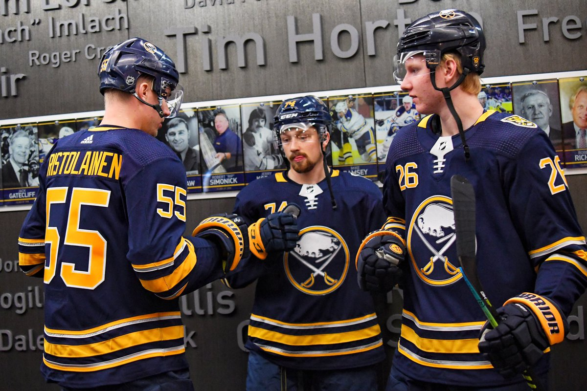 Rare spotting in the wild, 3 Rasmus are spotted together at the local watering hole...  Buffalo Sabres, Rasmus Ristolainen, Rasmus Asplund, and Rasmus Dahlin, take part in a little pregame ritual  #Sabres50 <br>http://pic.twitter.com/TNHG5Vy0xS