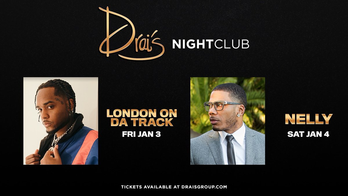 Make sure you come check out @LondonOnDaTrack and @Nelly_Mo this weekend at Drai's!