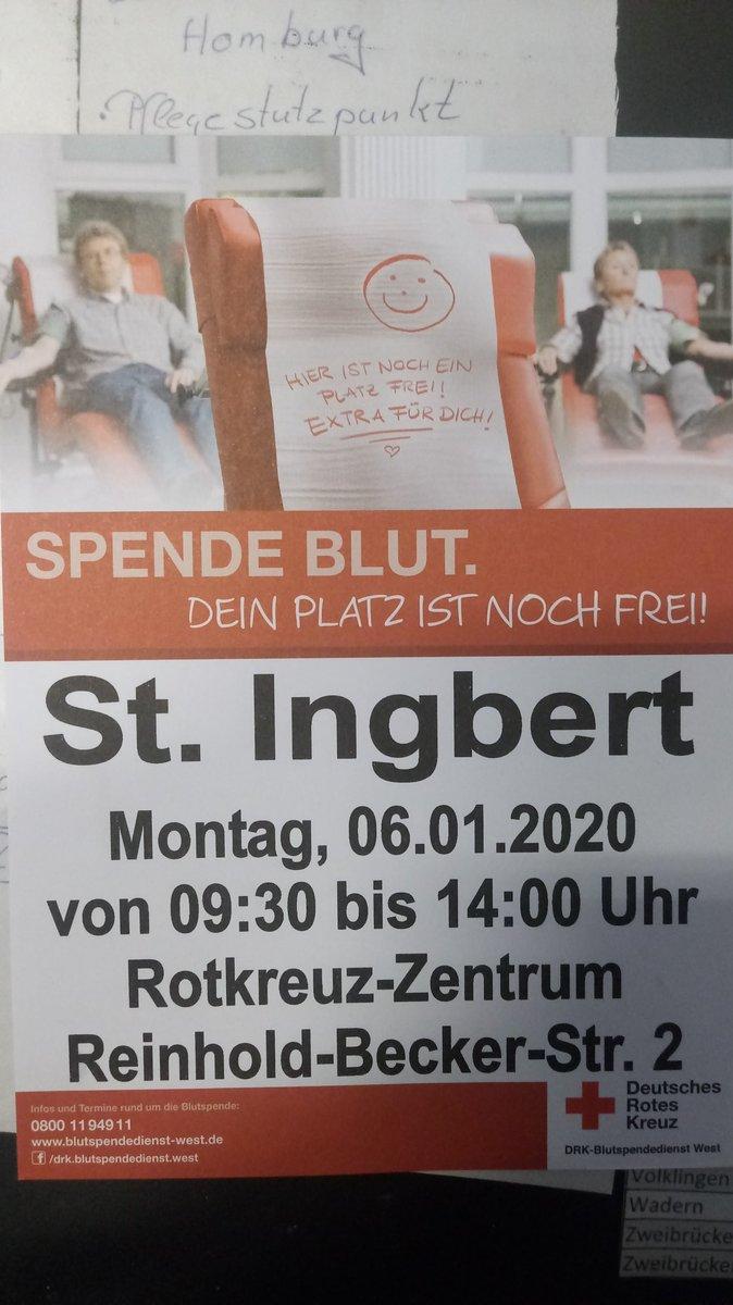 #Blutspende #StIngbert #blutspendetermin #saarland St. Ingbert Montag, 06.01.2020 Von 09.30 bis 14.00 Uhr Rotkreuz-Zentrum Reinhold-Becker-Str. 2pic.twitter.com/6IRUAbUo30