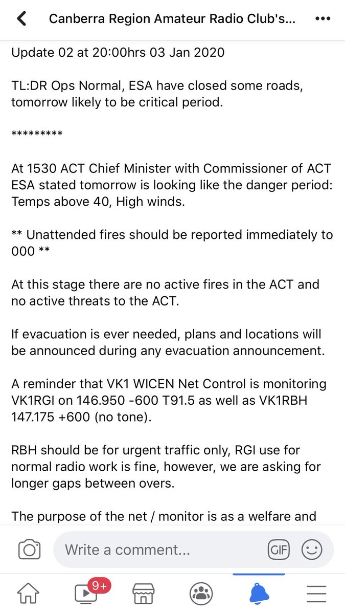 Update 02 at cease of first day of net.  #VK1 #wicen #EMCOMM #NSWfires #CBR