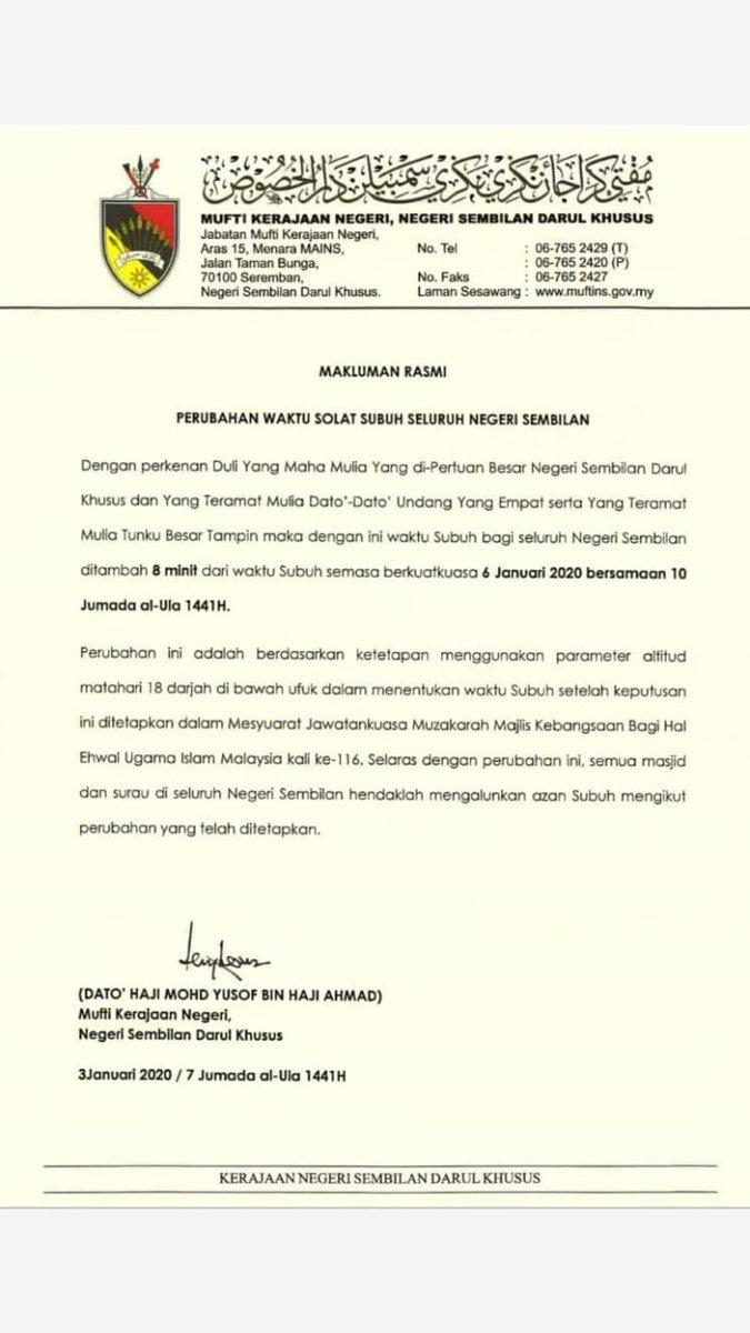 Ainabelle On Twitter Makluman Perubahan Waktu Solat Subuh Khas Bagi Umat Islam Negeri Selangor Berkuatkuasa Esok Waktu Subuh Dilewatkan 8 Minit Untuk Negeri Lain Tunggu Makluman Oleh Negeri Masing Https T Co 7tlhmjzerz