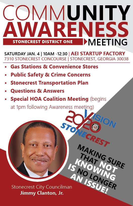 Please be sure to support District 1 Councilman @JimiClantonJr. Like and share! #StonecrestStrong #MayorLary