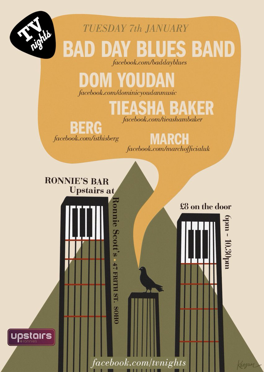 @TVNights upstairs @officialronnies on Tuesday 7th January. EPIC show. Do NOT miss this!! #london #musicpic.twitter.com/SvayEmAXe7