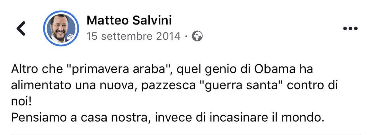 """6 anni fa #Trump accusava Obama di voler attaccare Iran.#Salvini gli faceva eco: """"Pensiamo a casa nostra, invece di incasinare il mondo""""2020: USA dichiarano di fatto guerra uccidendo #Soleimani.#Salvini: """"Grande Trump, tutti dovrebbero ringraziarlo!""""Poche idee, ma confuse."""