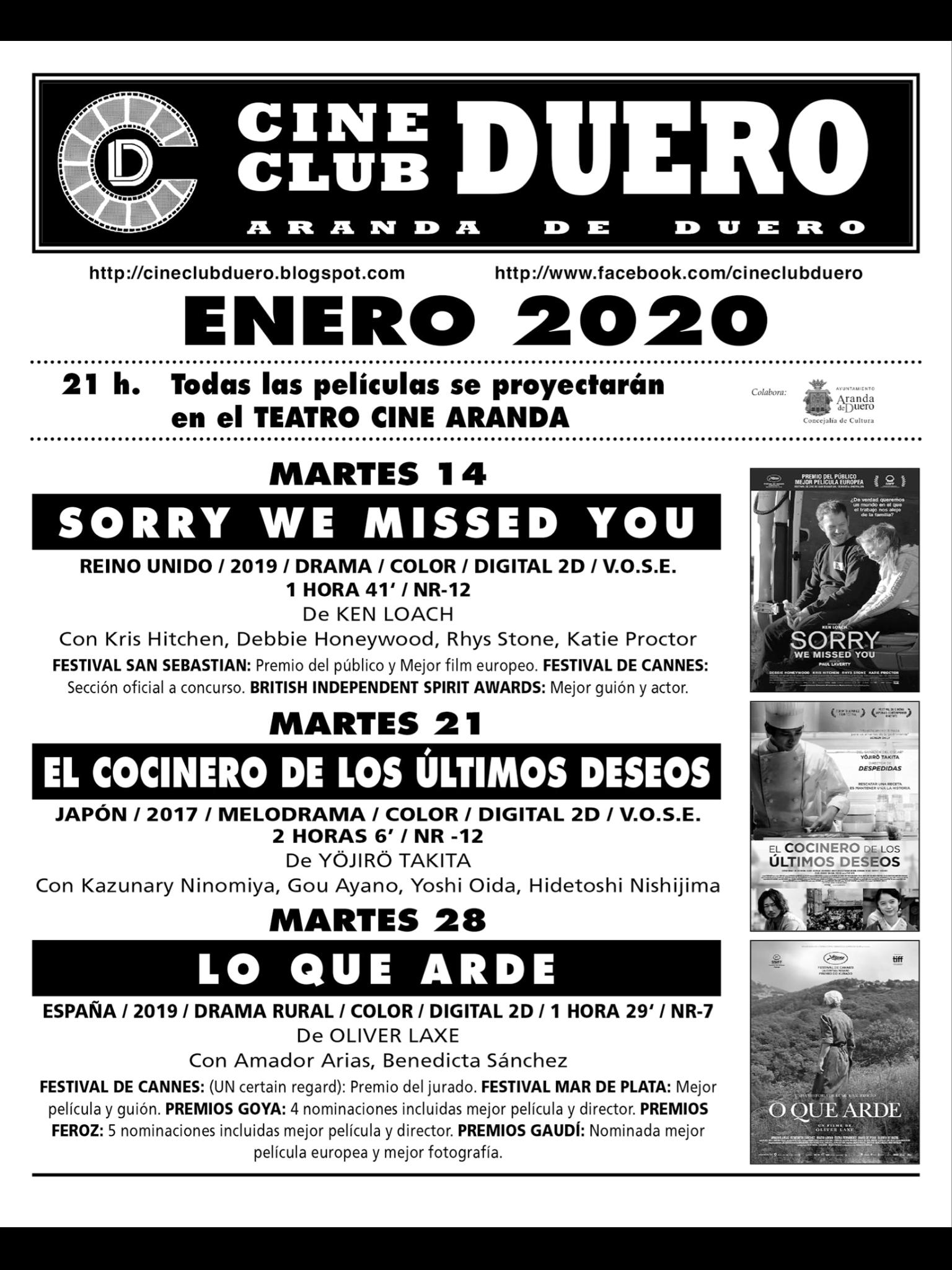 Cartelera Arandina On Twitter Excelente El Programa De Enero Del Cine Club Duero No Te Lo Pierdas Arandadeduero Riberadelduero