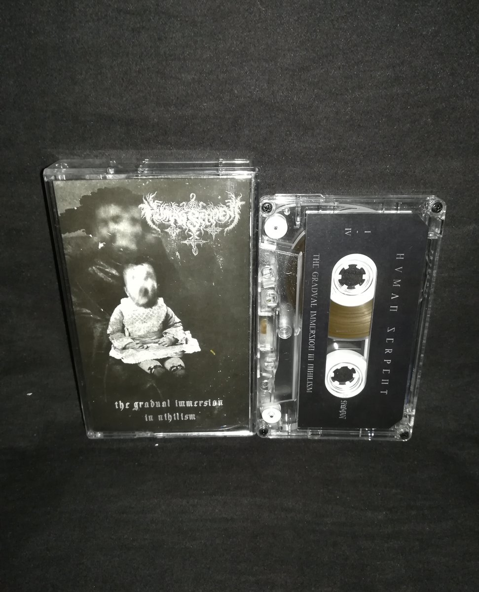 "#HumanSerpent  ""The Gradual Immersion in Nihilism"" ⁠  4€+postage⁠ ⁠ warproductions@gmail.com⁠ ⁠ http://war-productions.org   #WarProductions⁠ #Mailorder⁠ #SupportTheUnderground⁠ #BlackMetalTapes #TapeKvlt⁠ #TapeFormat #TapePorn #BlackMetalCollection pic.twitter.com/2puBxF68cp"