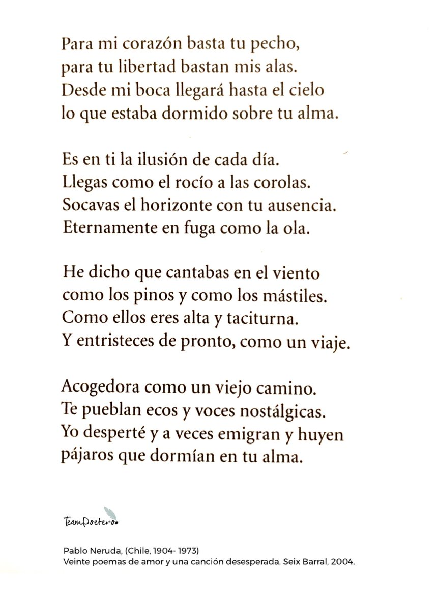Team Poetero On Twitter Para Mi Corazón Basta Tu Pecho
