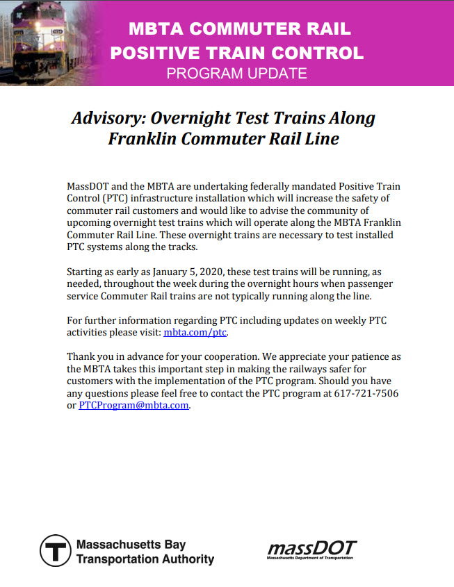 MBTA Franklin Line notices: Overnight Test Trains