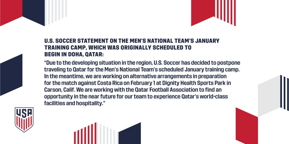 US men's soccer team cancels plan to train in Qatar