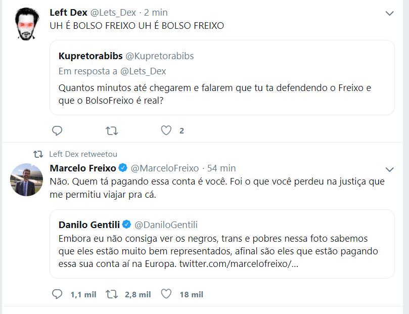 Sim, é Bolso Freixo mesmo, nem adianta disfarçarOs caras COMEMORAM e dão RT em esquerdista do PSOL porque está lacrando em cima de desafetinhos que não mamam benga de governoQuem é a nova esquerda?Lixos.