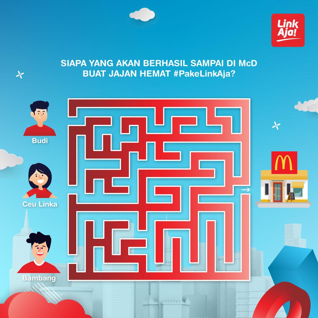Coba liat labirin berikut, kira-kira siapa ya yang akan sampai duluan di McDonald buat jajan hemat #PakeLinkAja ?Coba jawab di kolom komentar buat dapetin hadiah total saldo 1 Juta!