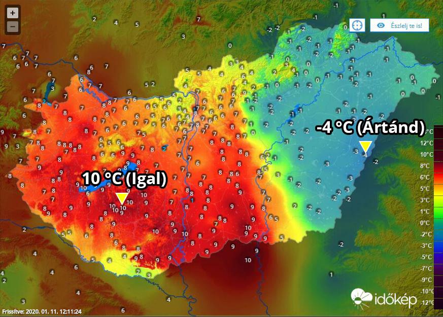 14 fokos különbség 🌡 A keleti országrészre már beült a hidegpárna: ködös, fagyos idő uralkodik, nyugaton viszont szeles, de kora tavasziasan enyhe az idő. 🌫🆚☀️ ➡️  Kameraképek: Farkas Mikulás (Dunaújváros), Zajgató Kft. (Hajdúdorog)