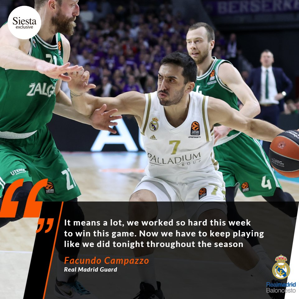 .@RMBaloncesto continue to set the pace and @facucampazzo wants to see it continue! 👏 13 wins in a row, can anyone stop them? #GameON